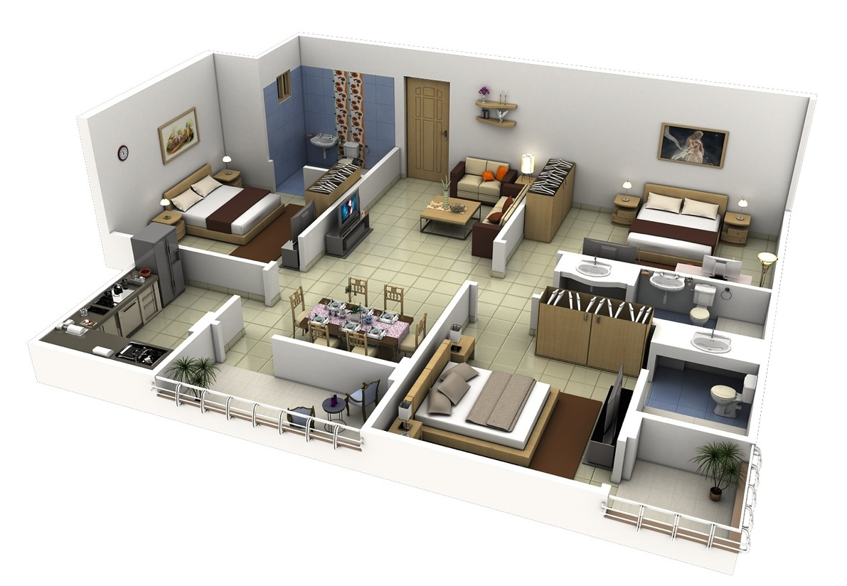 17 three bedroom house design 50 Three u201c3u201d Bedroom ApartmentHouse Plans