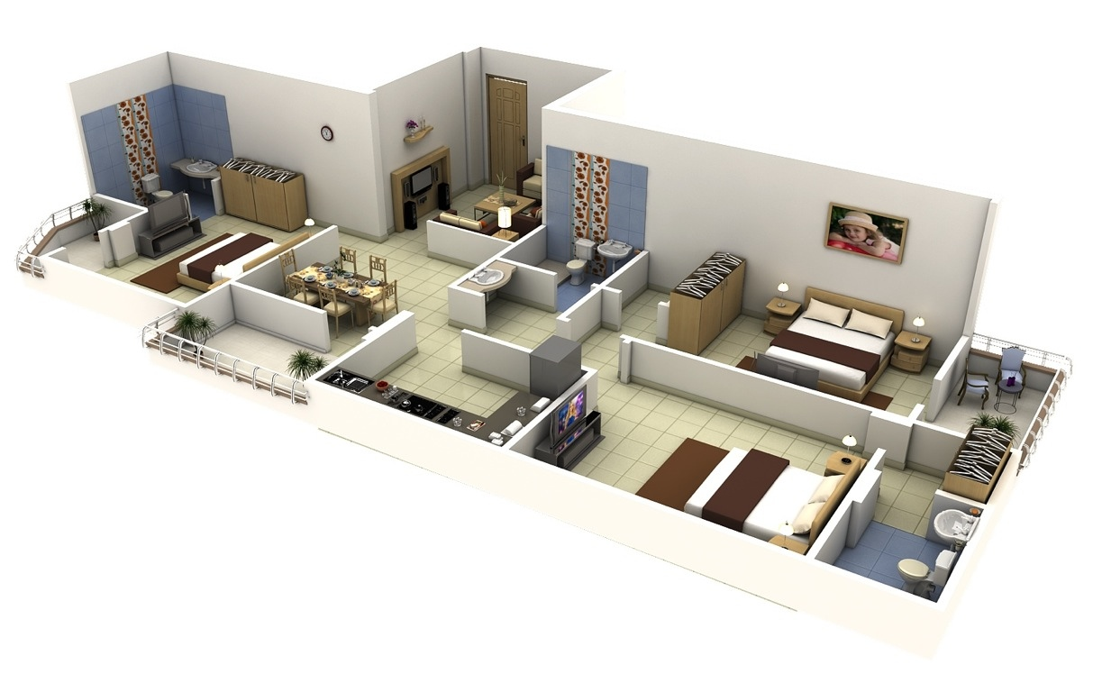 Superior 19 3 Bedroom 3d Floorplans