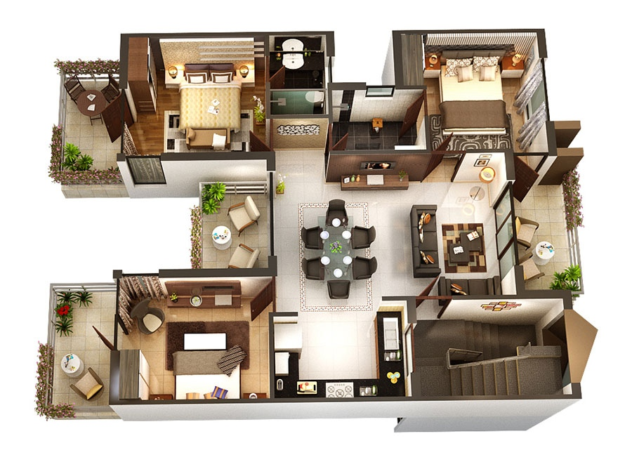 2 Three Bedroom Floor Plans