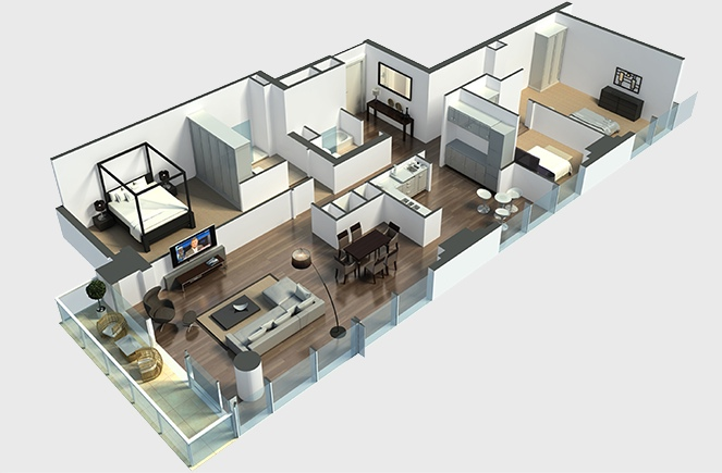 22 Large Hall 3bedroom Layout