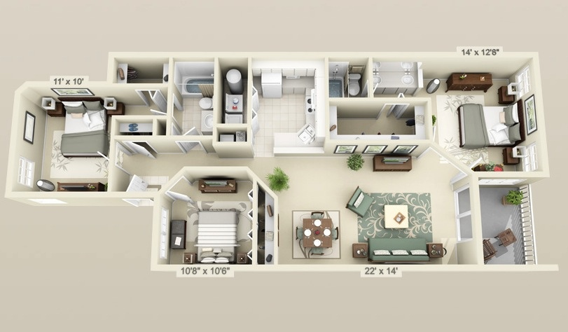 Three Bedroom ApartmentHouse Plans Architecture Design - 14 x 11 bedroom design