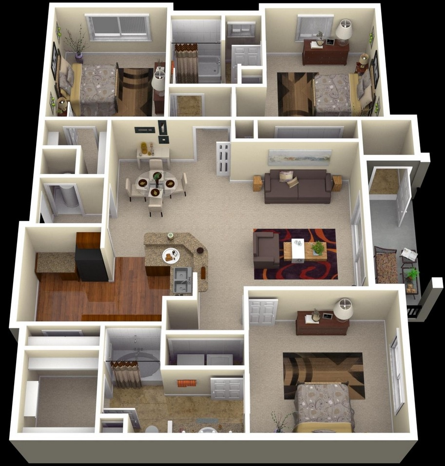 "3 Bedroom Places For Rent: 50 Three ""3"" Bedroom Apartment/House Plans"