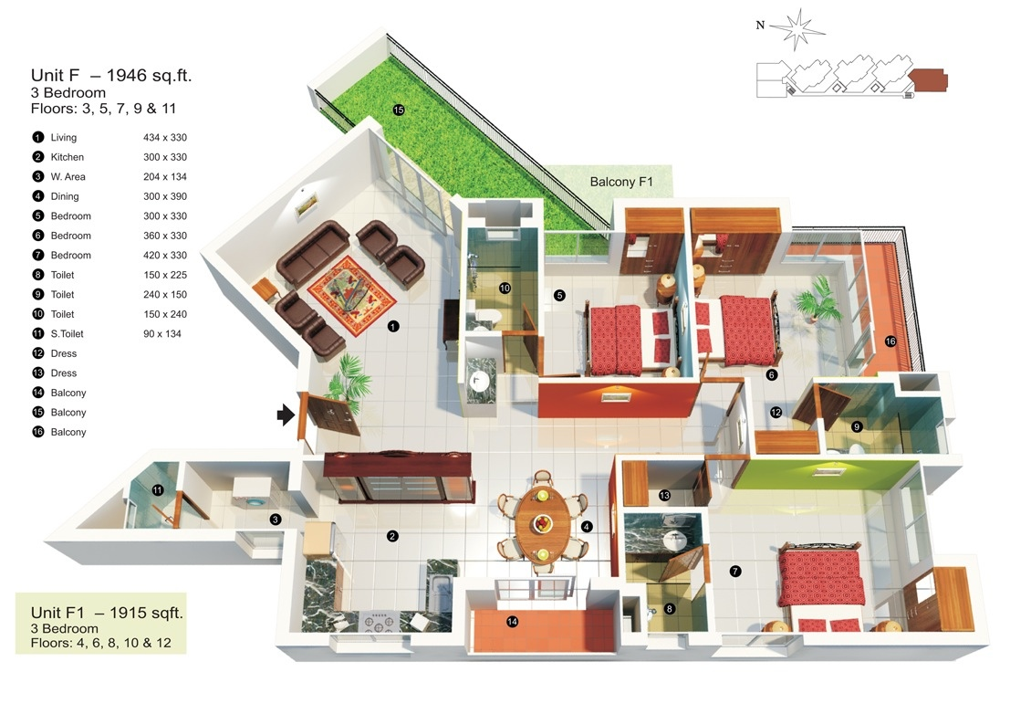 27-3-bedroom-under-2000-square-feet  Bedroom House Plans Under X Feet on