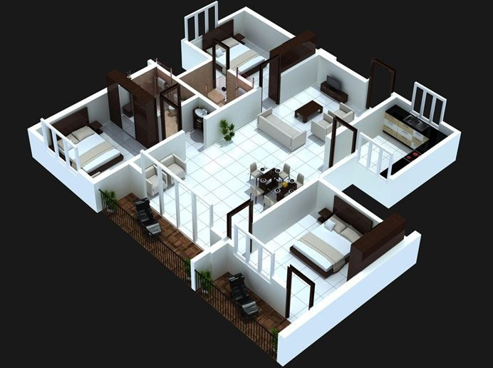 29 3 bedoom with balcony house plans - 3d Plan For House