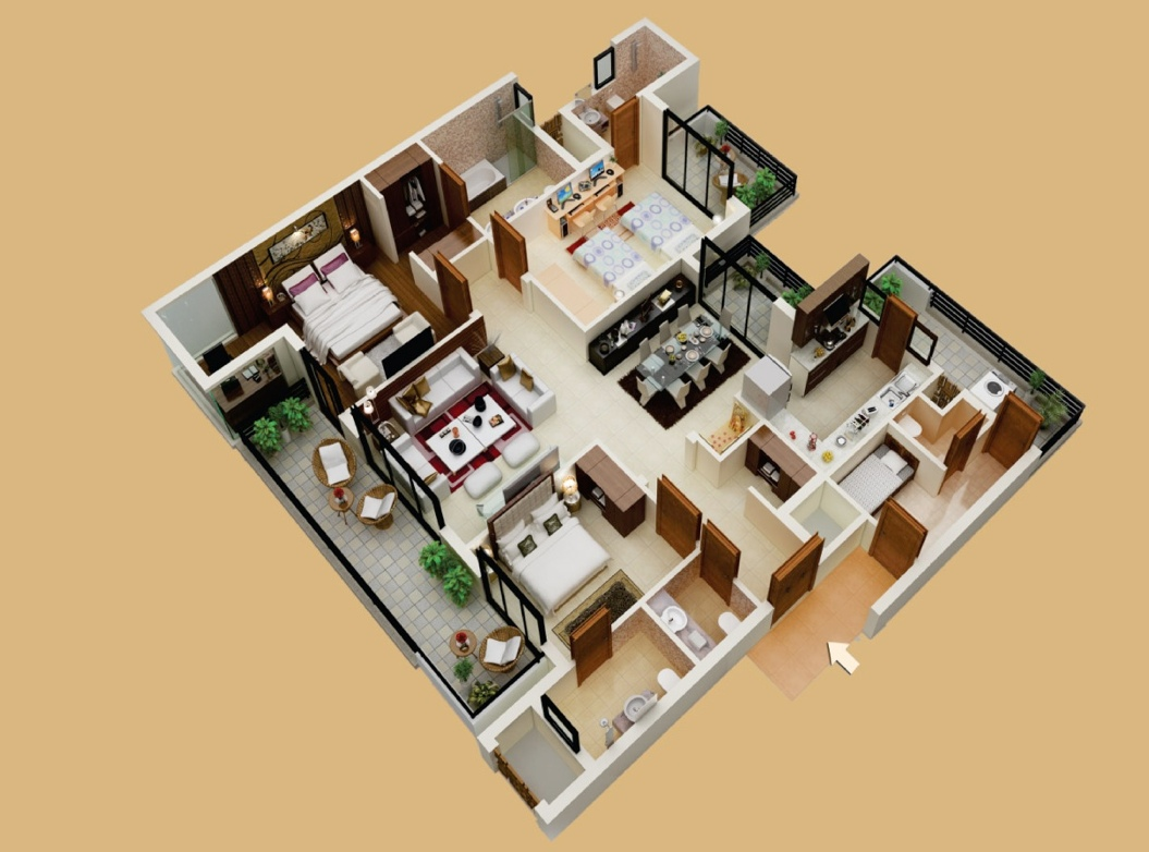 50 three 3 bedroom apartment house plans architecture for Apartment space planner