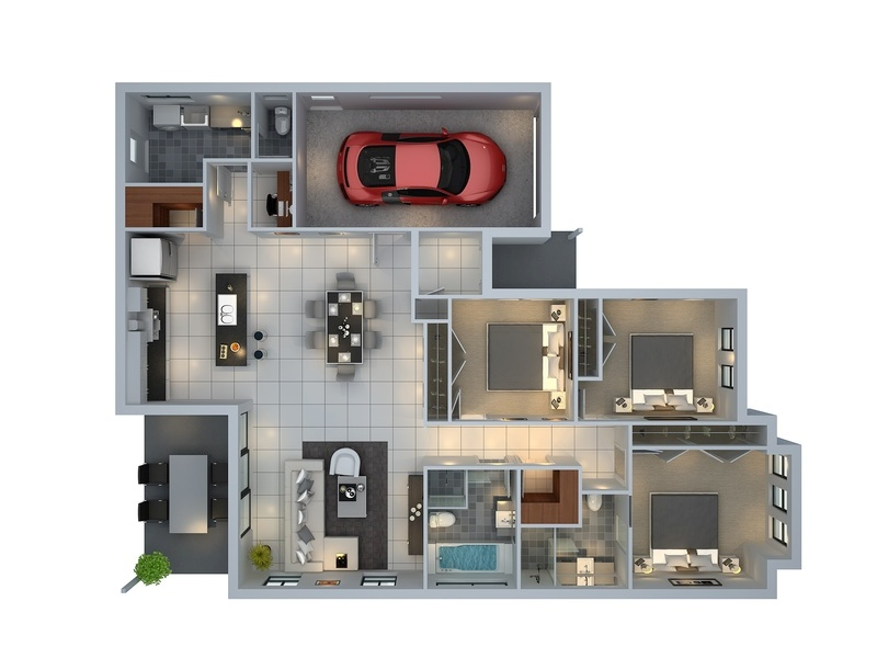 "50 Three ""3"" Bedroom Apartment/House Plans 