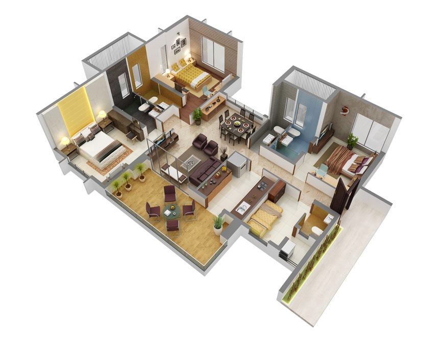 43 Beautiful 3 Bedroom Plans