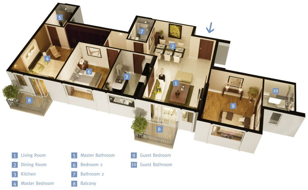 5 Room Home Design Part - 34: 45-single-story-3-bedroom-house