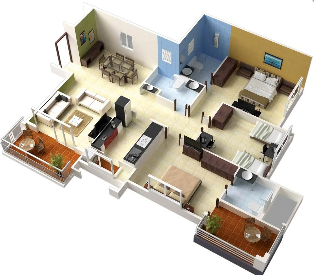 "Bedrooms Style Plans 50 three ""3"" bedroom apartment/house plans 