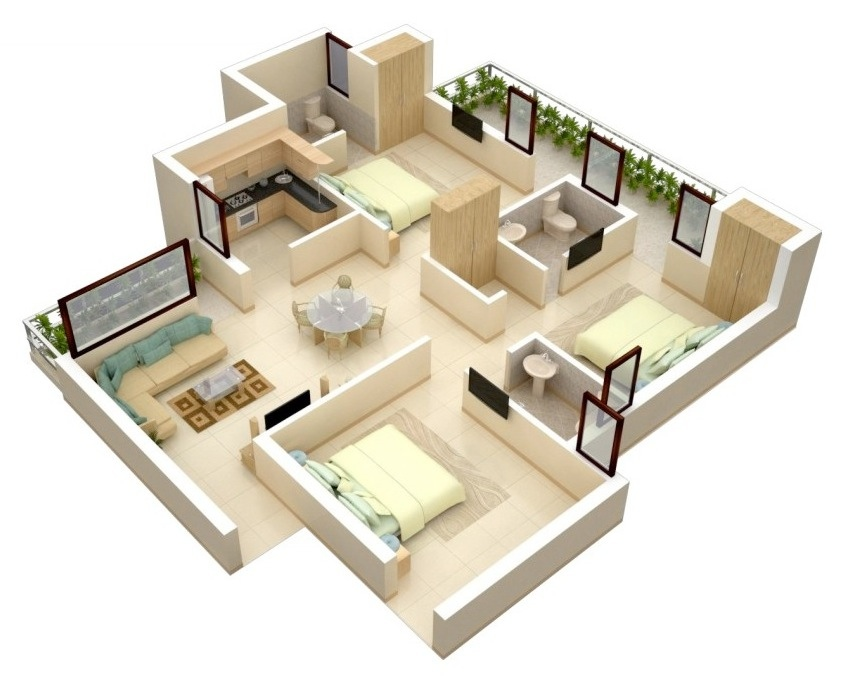. 50 Three  3  Bedroom Apartment House Plans   Architecture   Design