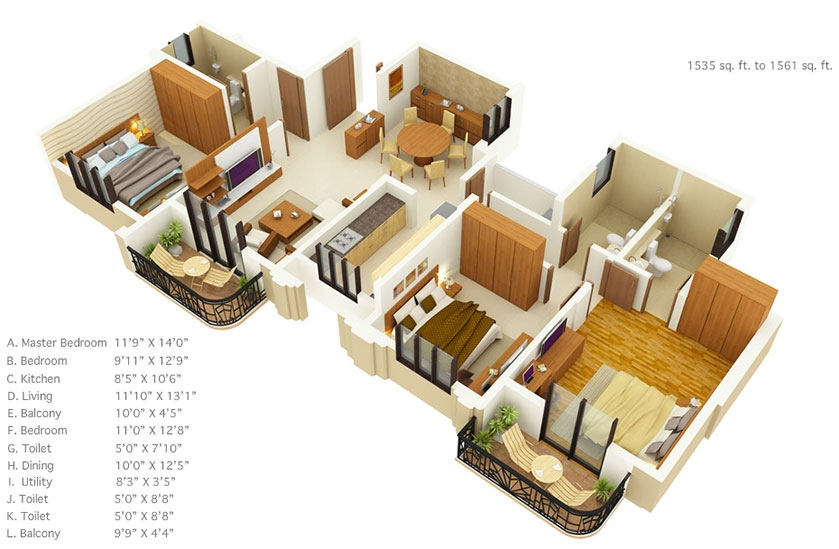 50 Three 3 Bedroom Apartment House Plans