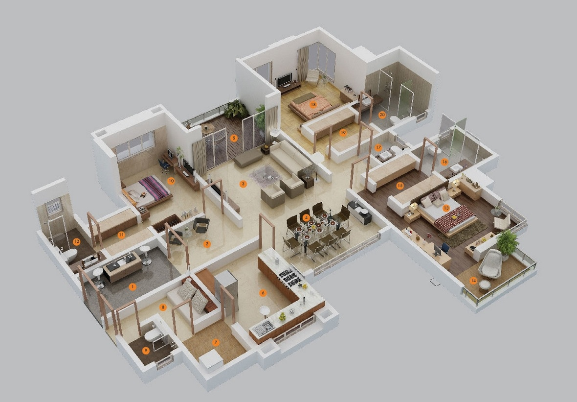 Awesome 5 Room Home Design Part - 9: 5-large-3-bedroom-floor-plans
