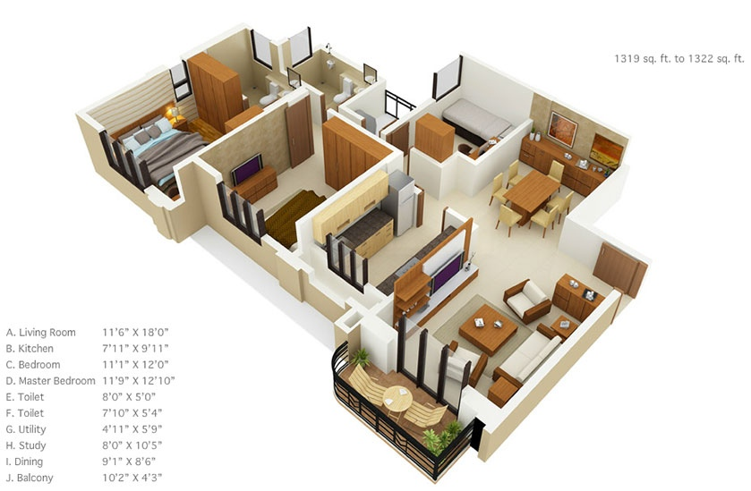 50 three 3 bedroom apartment house plans architecture for Interior design 600 sq ft flat