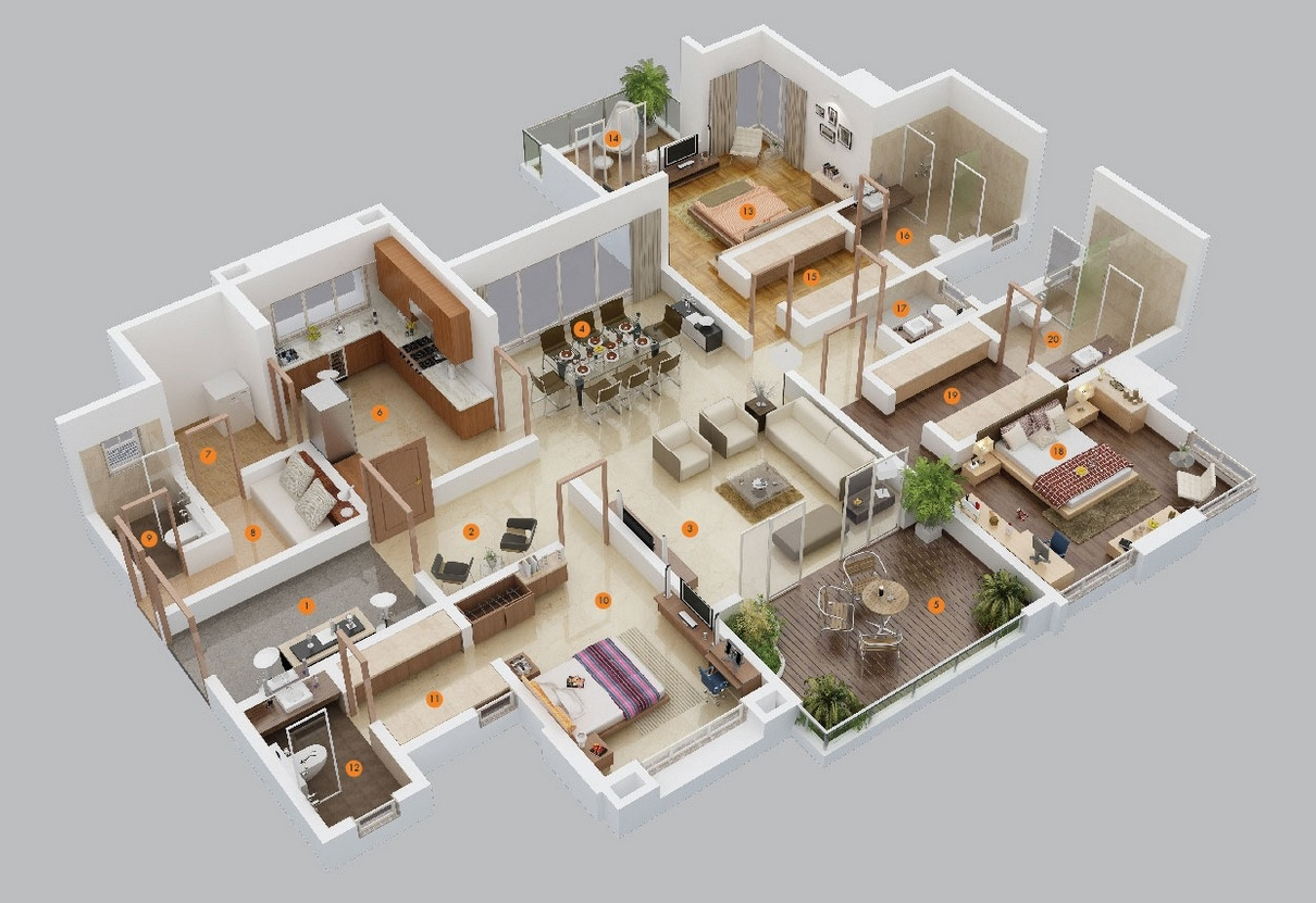 50 three 3 bedroom apartment house plans architecture design - Detailed three bedroom flat ...