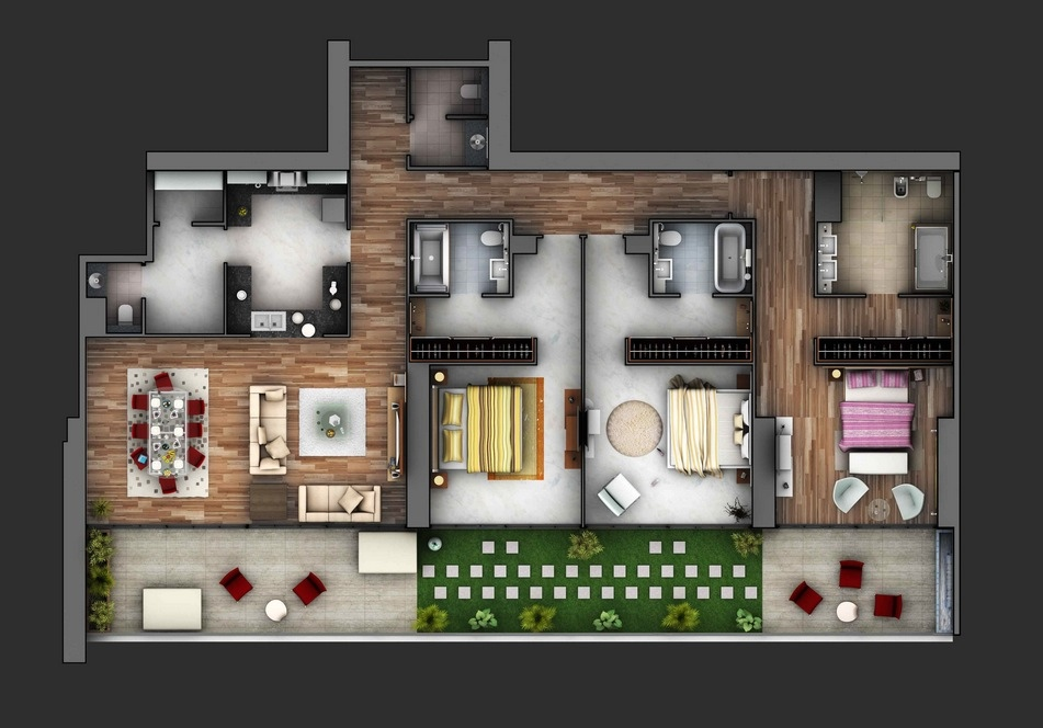 7 3 Bedroom Apartment Layout