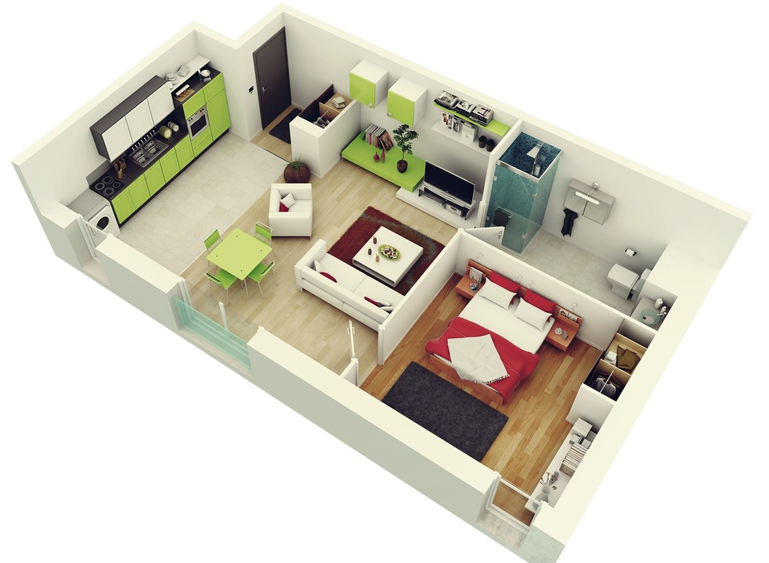 "One Bedroom House Designs Prepossessing 50 One ""1"" Bedroom Apartmenthouse Plans  Architecture & Design Review"