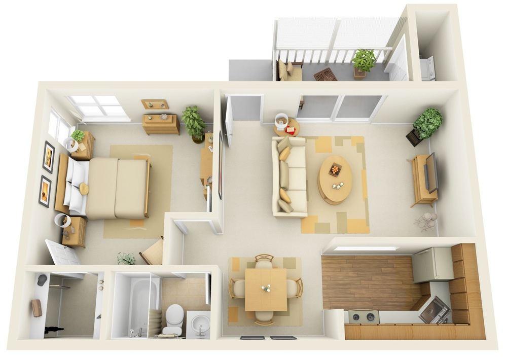 50 One 1 Bedroom ApartmentHouse Plans Architecture