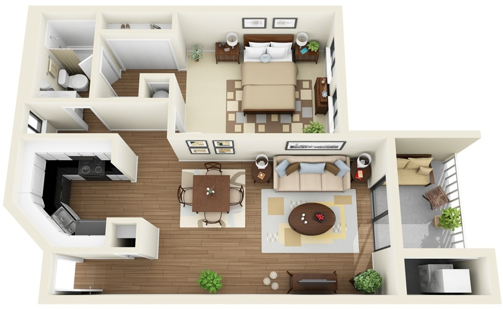 50 one 1 bedroom apartment house plans architecture for Small one room apartment ideas