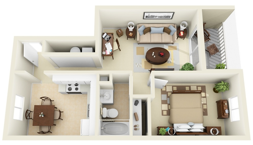 16 Narrow 1 Bedroom Apartment