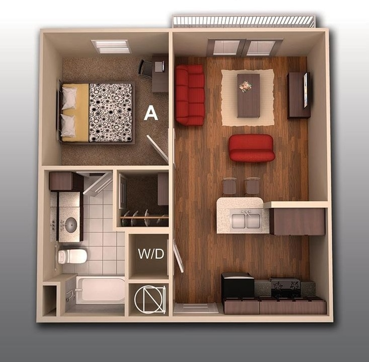 "No Bedroom Apartment: 50 One ""1"" Bedroom Apartment/House Plans"