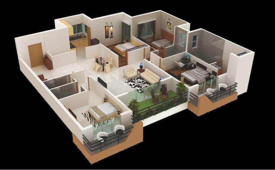 "400 Four ""40"" Bedroom ApartmentHouse Plans Impressive Two Bedroom Apartment Plan Creative"