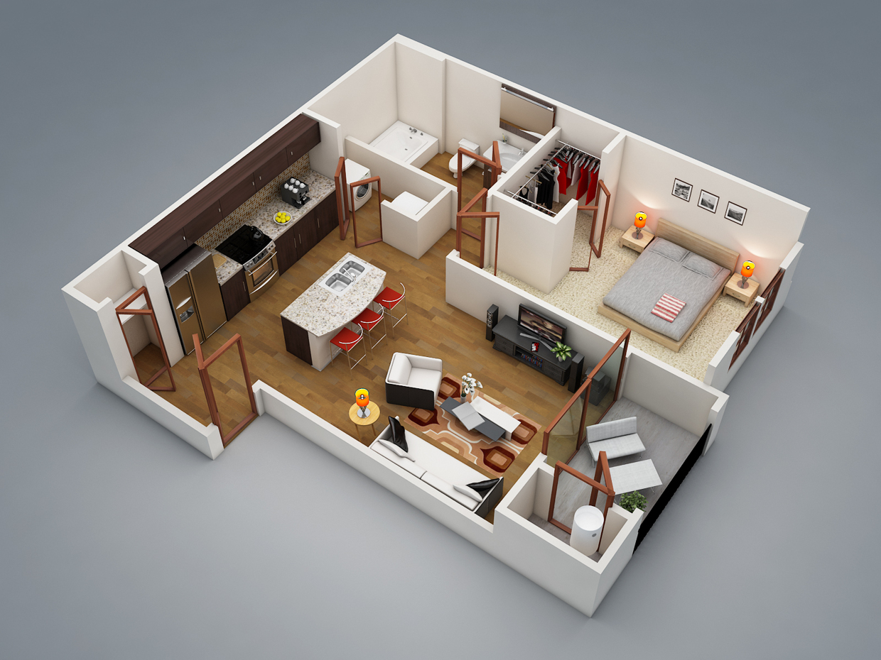 "50 one ""1"" bedroom apartment house plans"