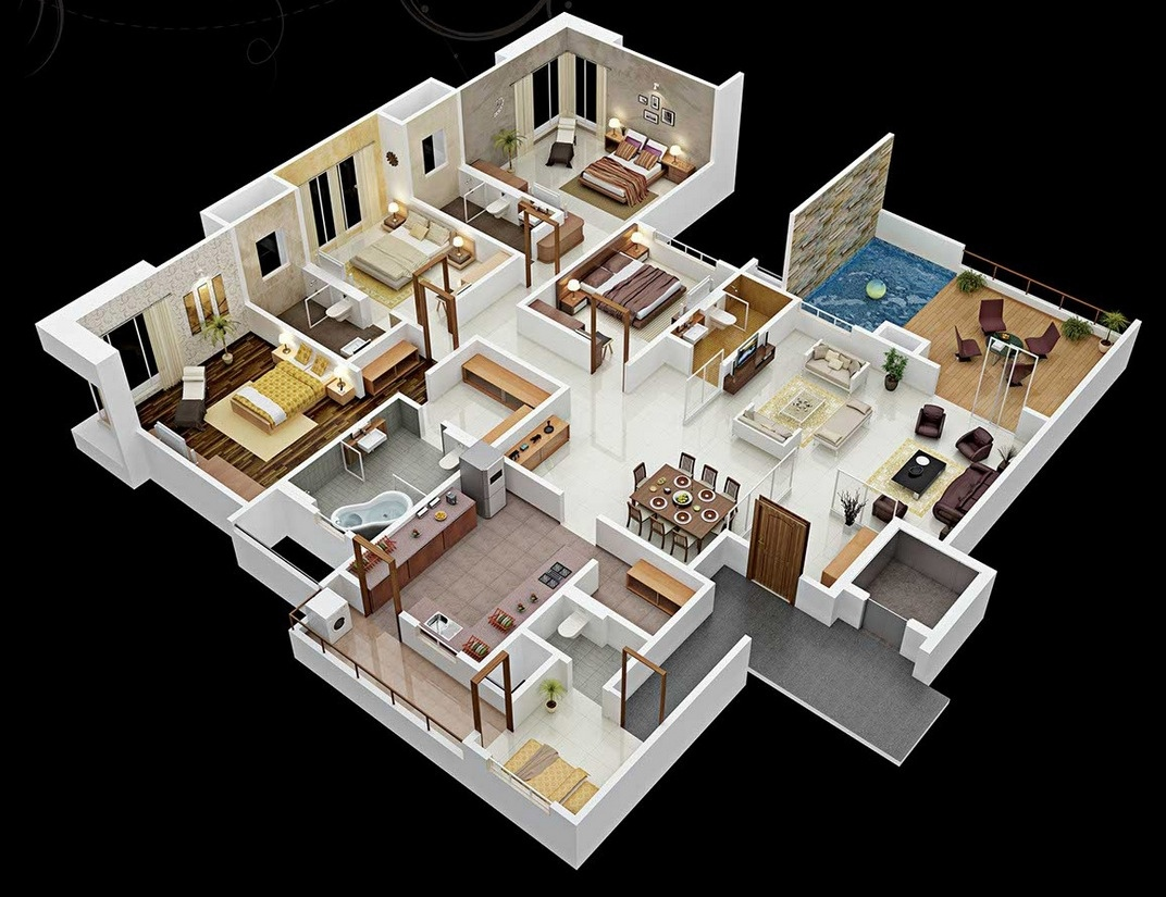 50 four 4 bedroom apartment house plans architecture for Four room house design