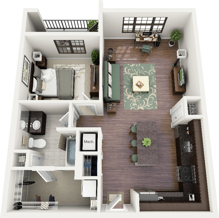 20 One bedroom with many closets. 50 One  1  Bedroom Apartment House Plans   Architecture   Design