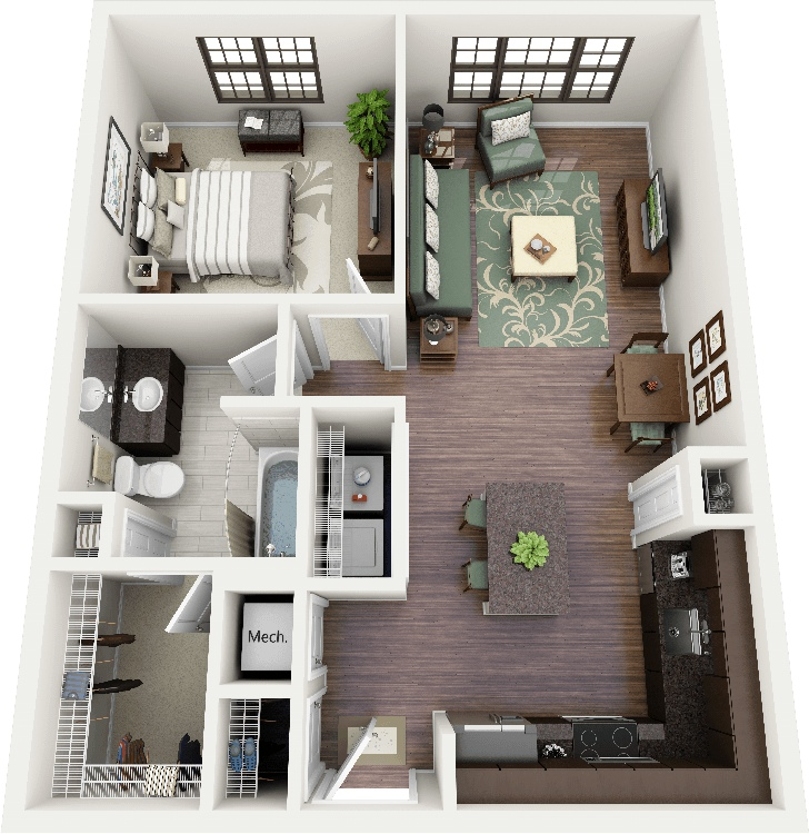 "Small Flat Plan 50 one ""1"" bedroom apartment/house plans 