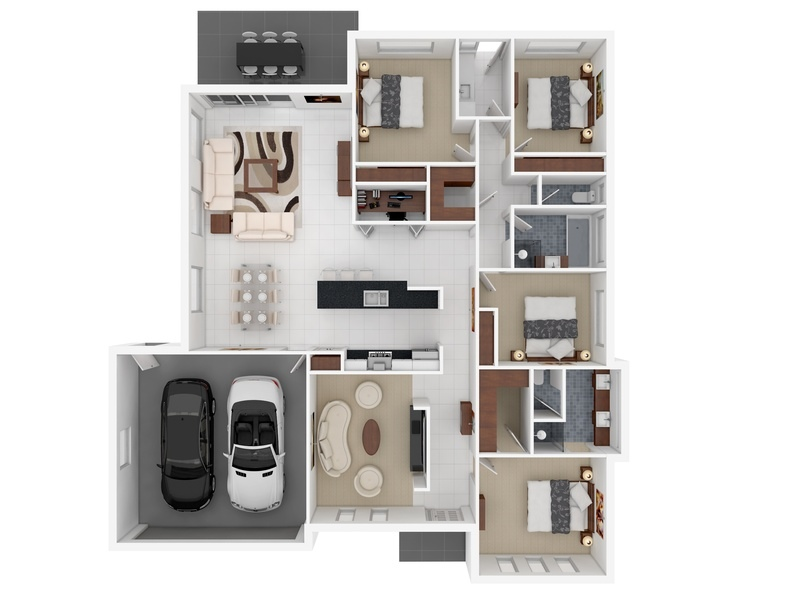 Attirant 25 4 Bedroom Apartment House Plans Image