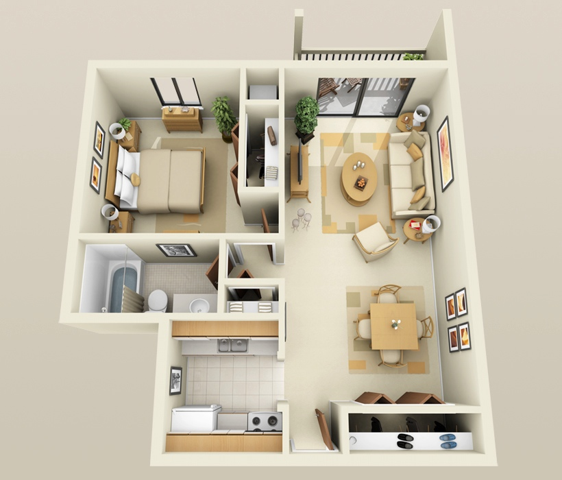 "One Room Apartment: 50 One ""1"" Bedroom Apartment/House Plans"