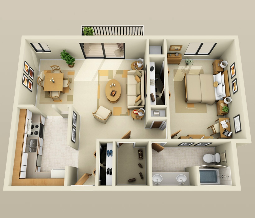 "732 For 1 2 Bed Apts: 50 One ""1"" Bedroom Apartment/House Plans"