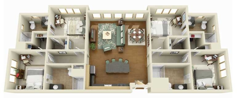 29 home layout example. 50 Four  4  Bedroom Apartment House Plans   Architecture   Design
