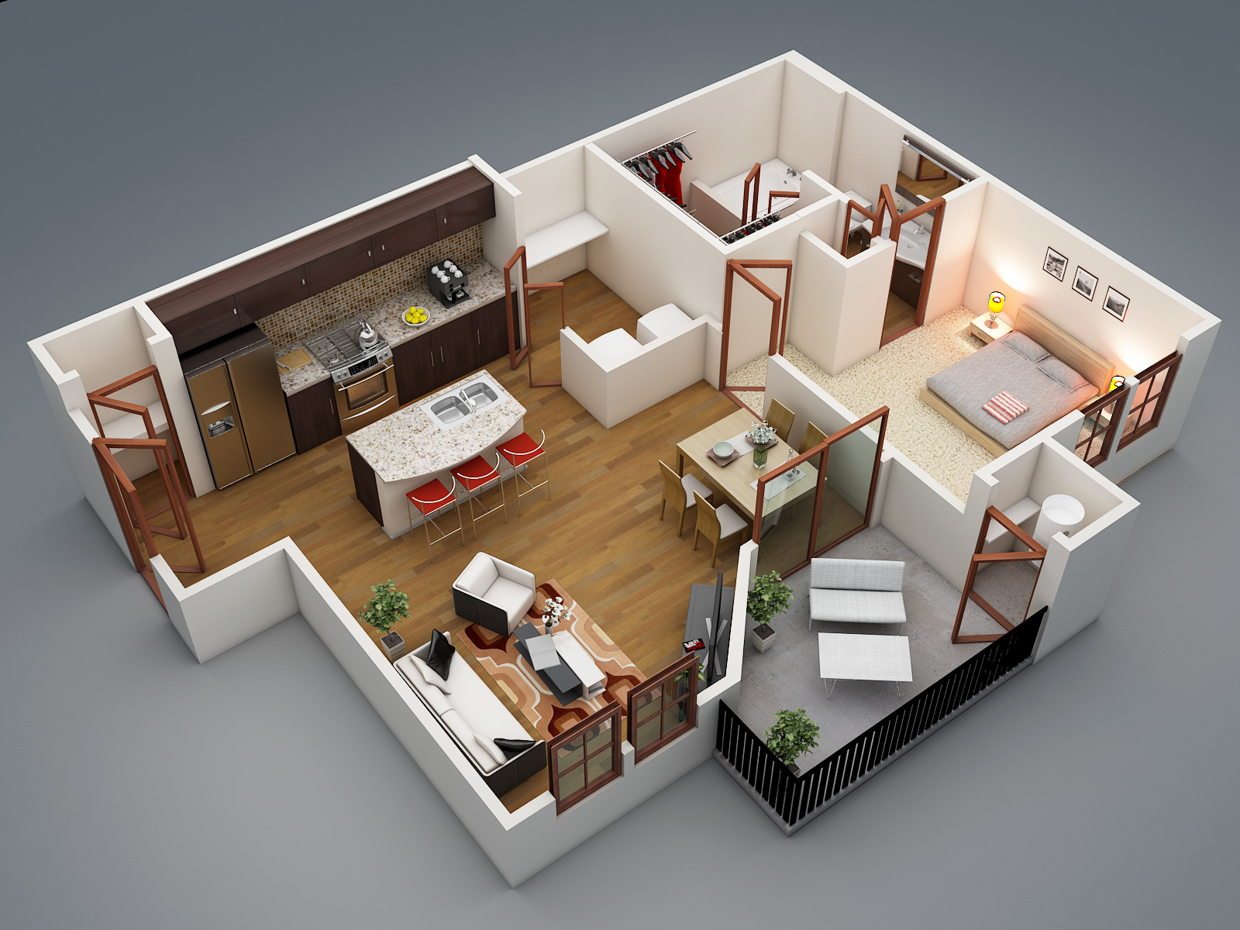 50 one 1 bedroom apartment house plans architecture for Three bed