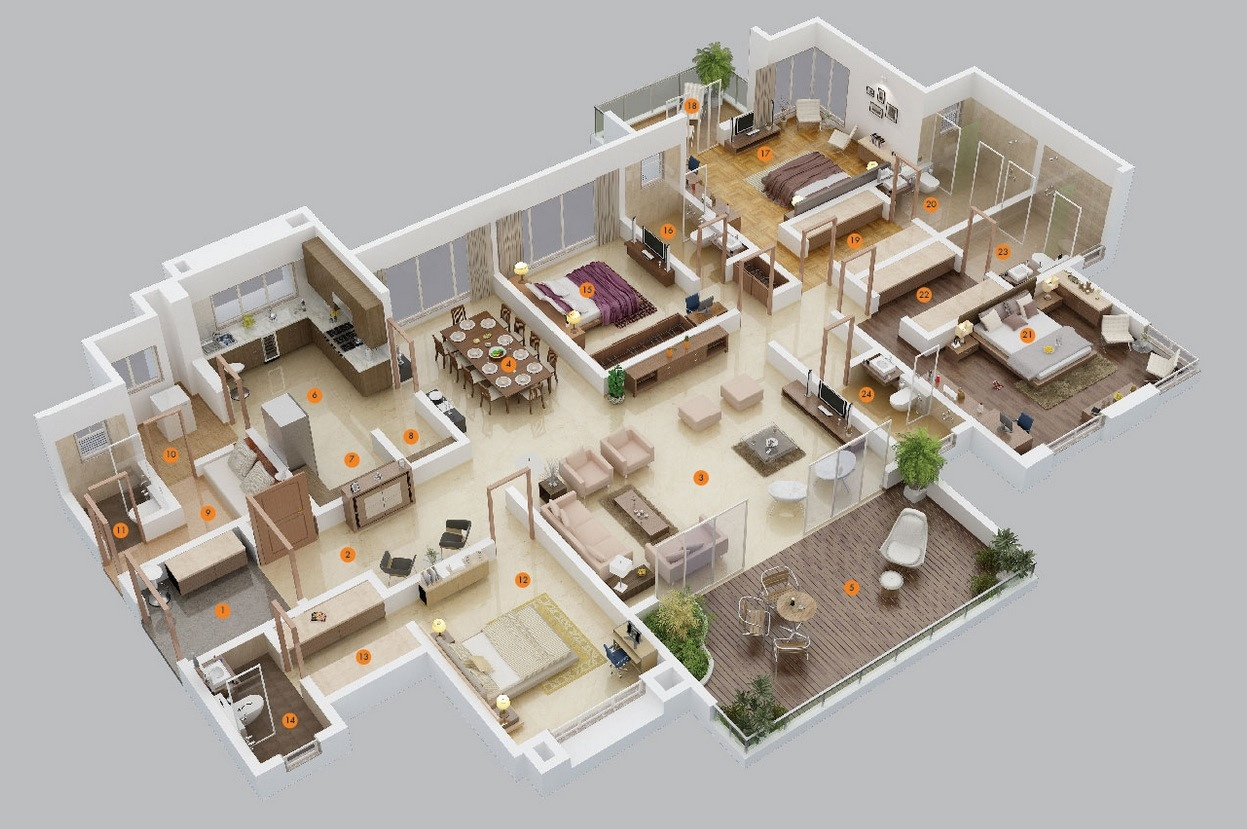 3 apartment layouts - 4 Bedroom Apartments