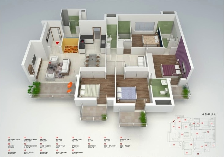 50 Four 4 Bedroom ApartmentHouse Plans Architecture