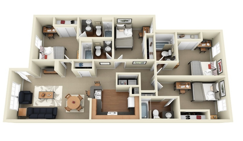 33 Four Bedroom Apartment