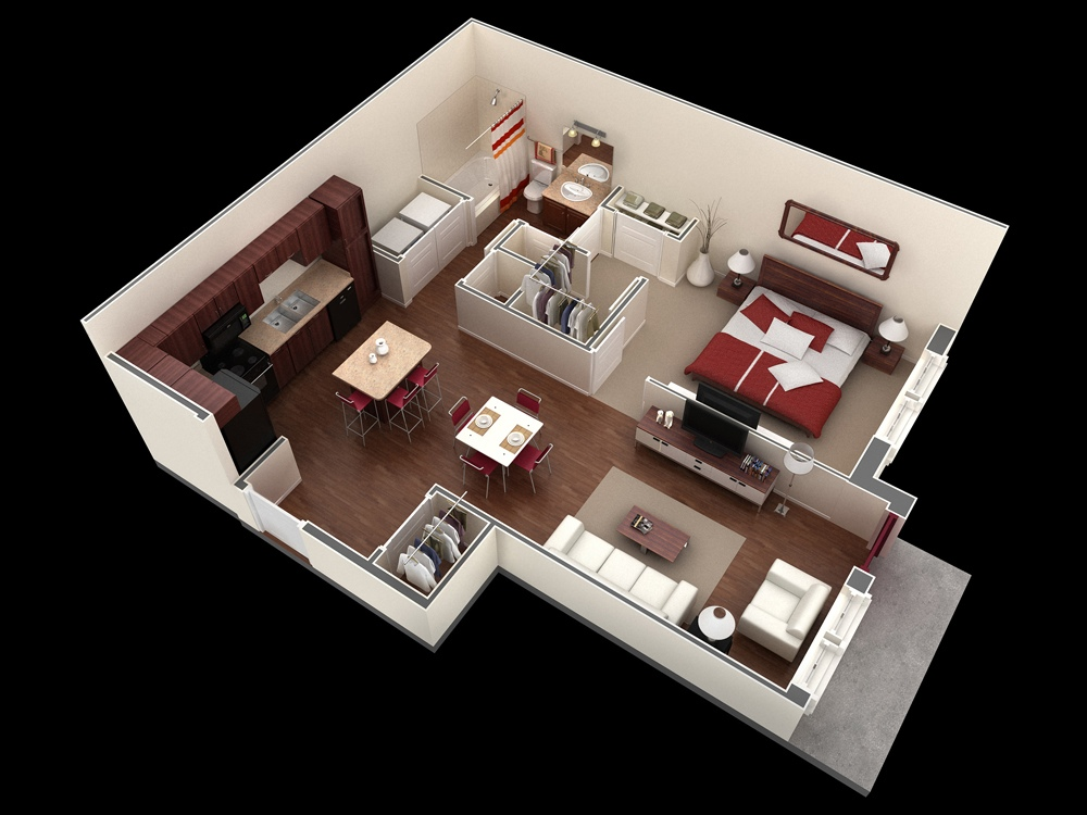 34 Springs Apartments 1 Bedroom 50 One u201c1u201d Bedroom ApartmentHouse Plans
