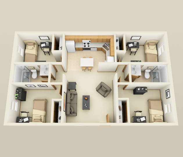 "400 Four ""40"" Bedroom ApartmentHouse Plans Best 4 Bedroom House Designs"