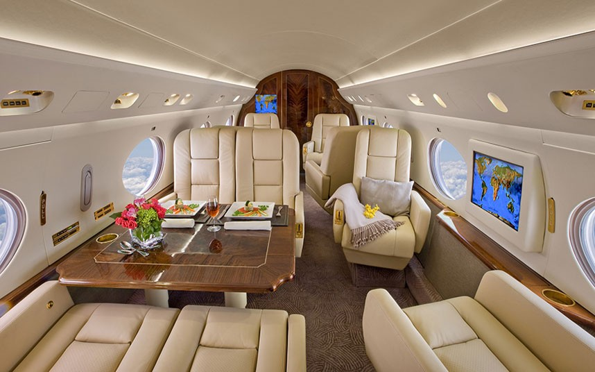 25 amazing private jet interiors step inside the world s. Black Bedroom Furniture Sets. Home Design Ideas