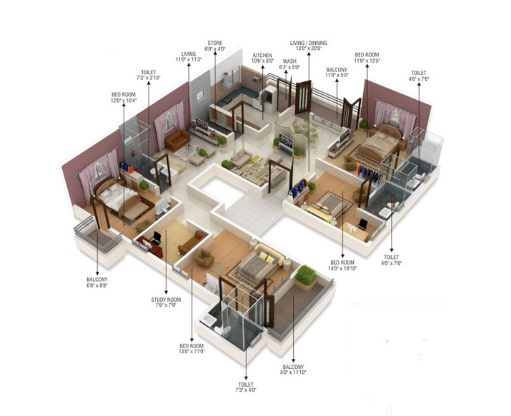 "Flats Design 50 four ""4"" bedroom apartment/house plans 