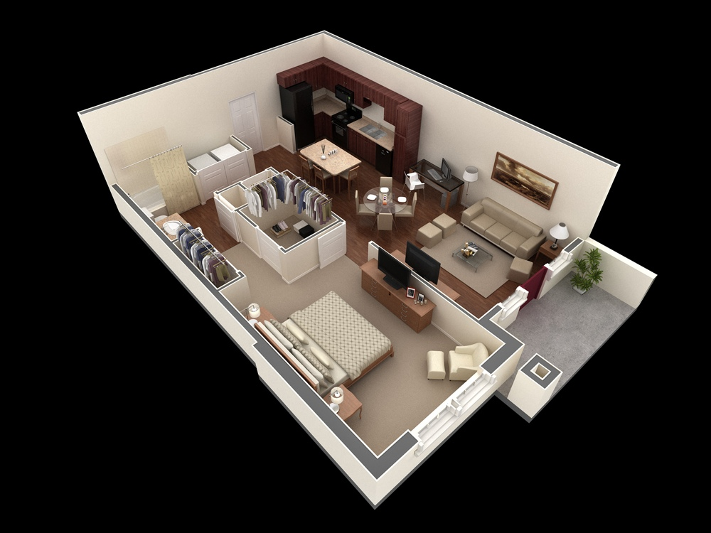 50 one 1 bedroom apartment house plans architecture for One bedroom house plans with photos