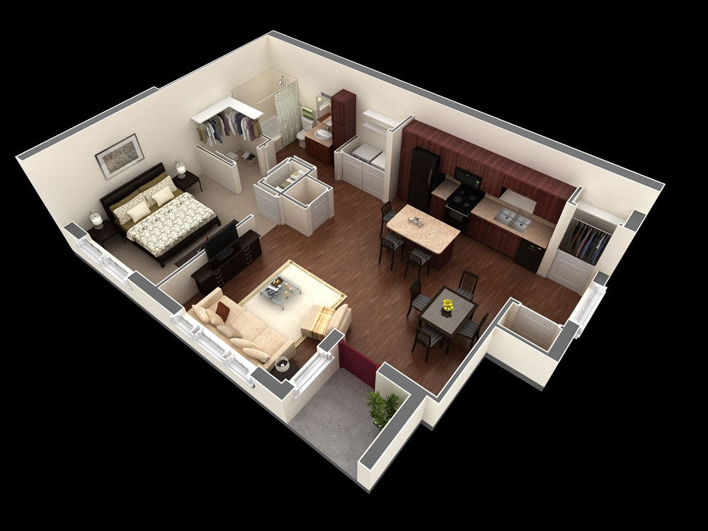 50 one 1 bedroom apartment house plans architecture for Design interior apartemen 1 bedroom
