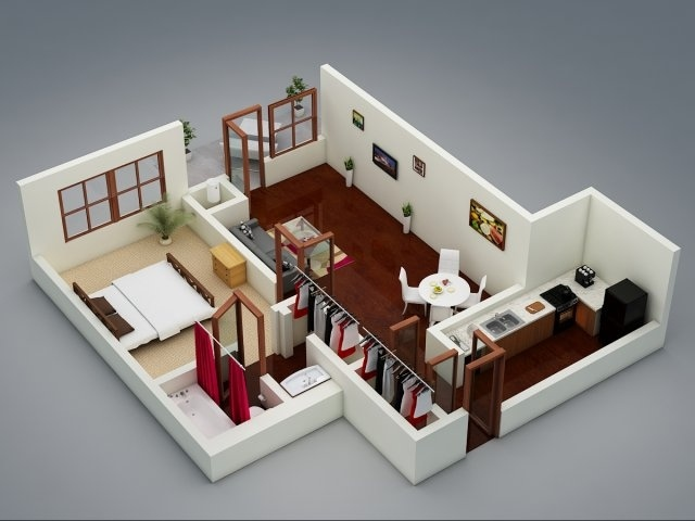 50 one 1 bedroom apartment house plans architecture for Single bedroom ideas