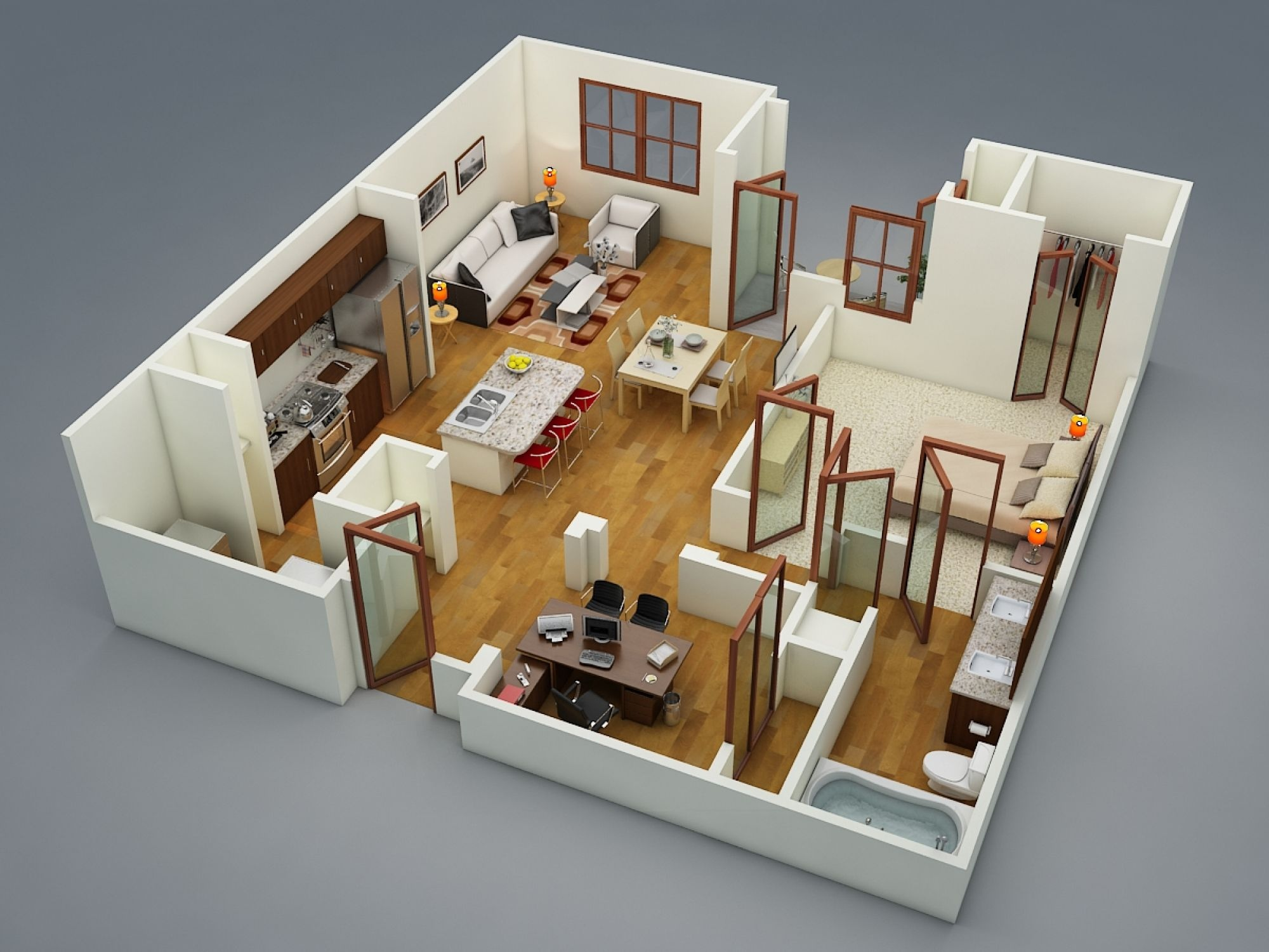 50 one 1 bedroom apartment house plans architecture for Different interior designs of houses