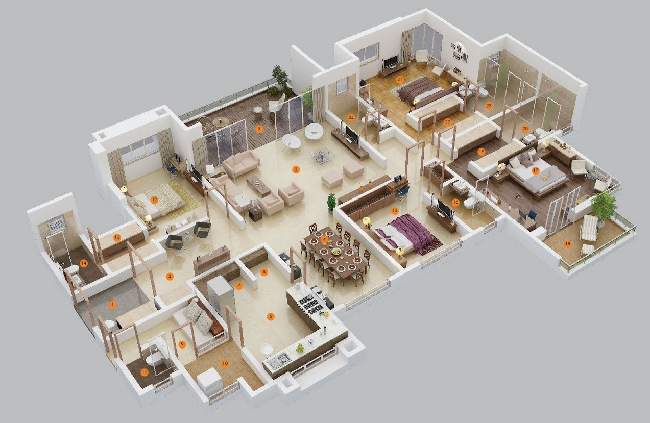 50 four 4 bedroom apartment house plans architecture for Apartments layout