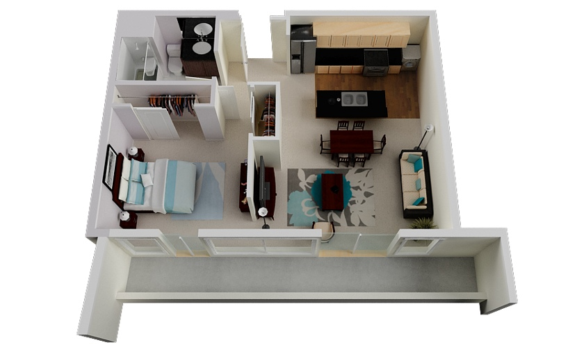 "One Bedroom Apartment Design Delectable 50 One ""1"" Bedroom Apartmenthouse Plans  Architecture & Design Inspiration"