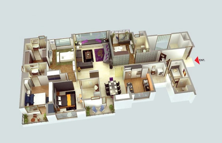 42 luxury four bedroom - 4 Bedroom Apartments