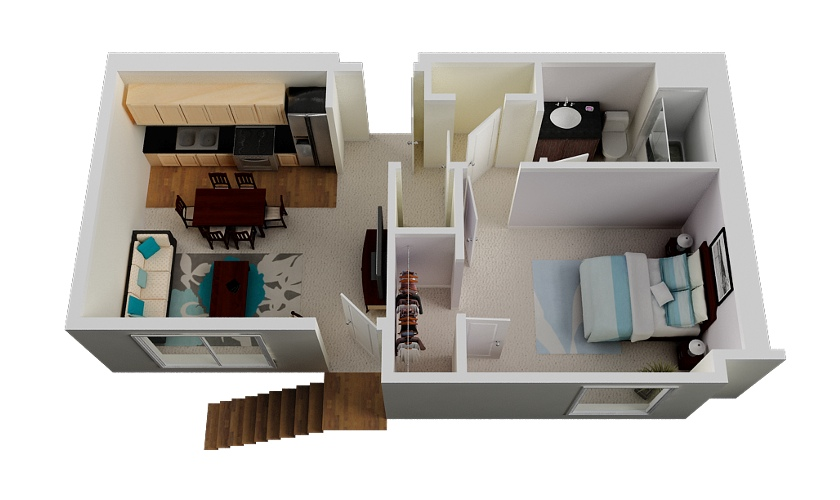 Marvelous 1 Bedroom Home Designs Part - 8: 43-1-bedroom-small-house-plan