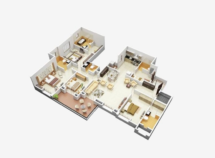 Astonishing 50 Four 4 Bedroom Apartment House Plans Architecture Interior Design Ideas Skatsoteloinfo